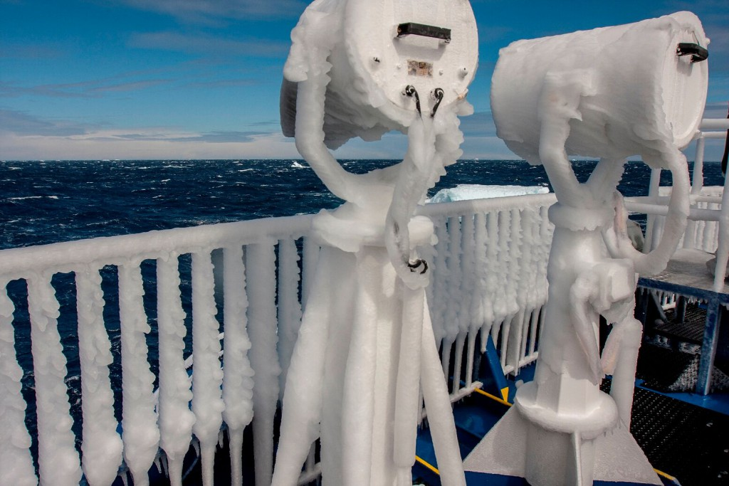 Viewing on deck. Best to wrap up warm
