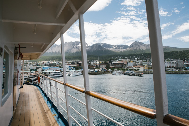 the view from the side deck of a luxury antarctic cruise vessel