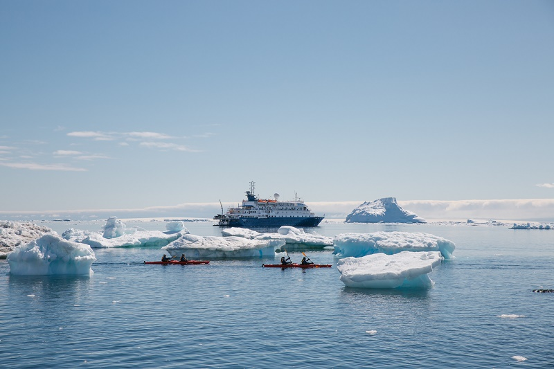A luxury cruise vessel in antarctica