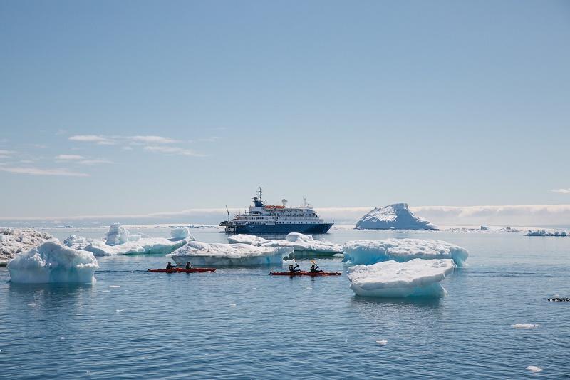 A luxury cruise vessel in antarctica