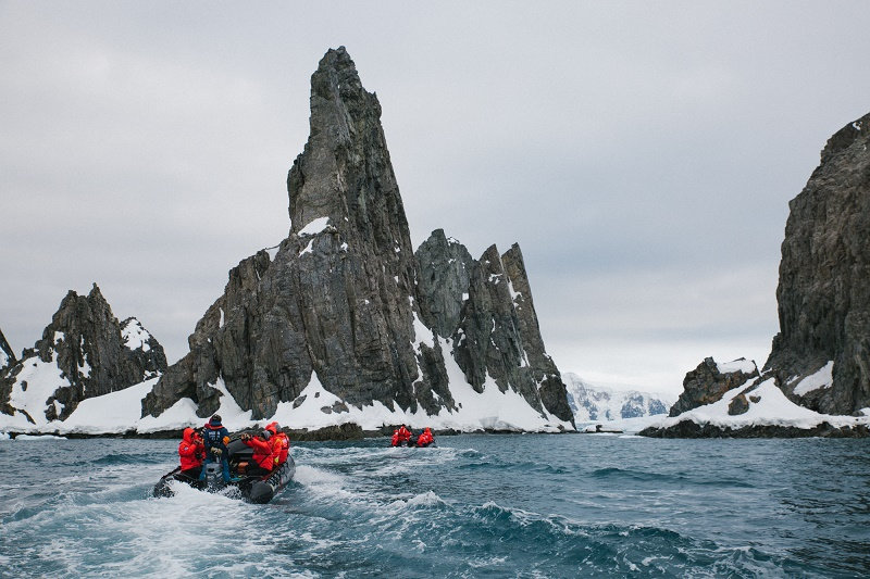 going ashore by zodiac on a luxury cruise in antarctica