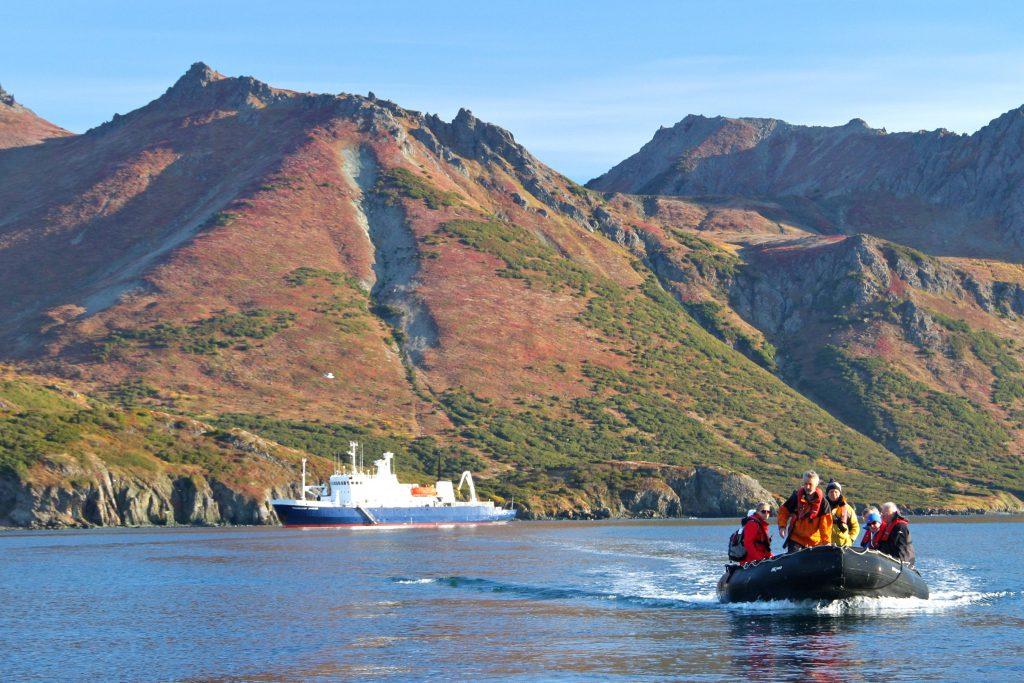 heading for shore in a zodiac on a polar cruise