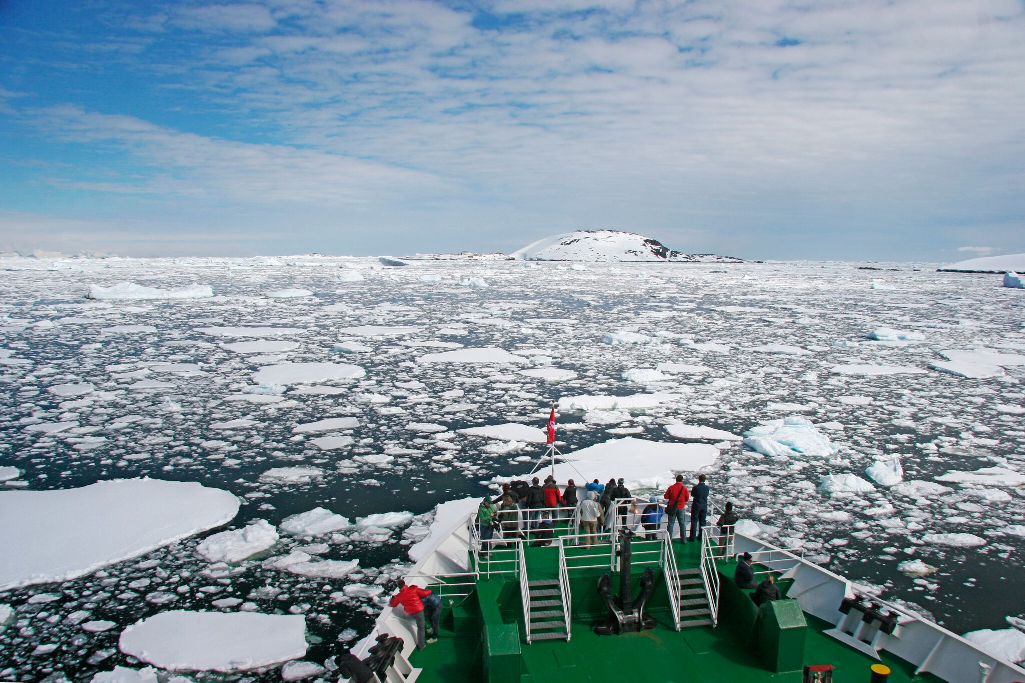 Wildlife spotting on board an Antarctic Expedition Cruise Ship