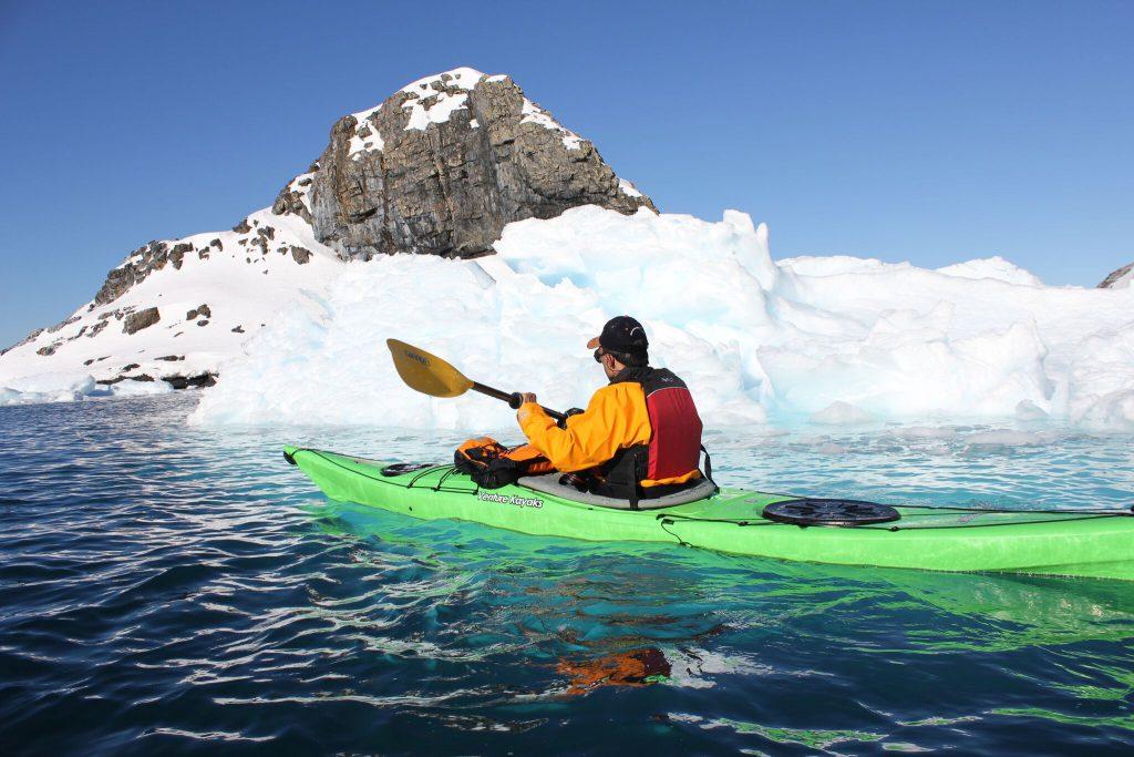 Simon Rowland kayaking on his excursion on his Antarctica XXI 'Fly The Drake' trip to Antarctica