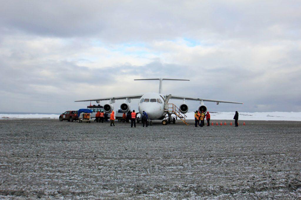 Flying across the Drake Passage, landing in Antarctica