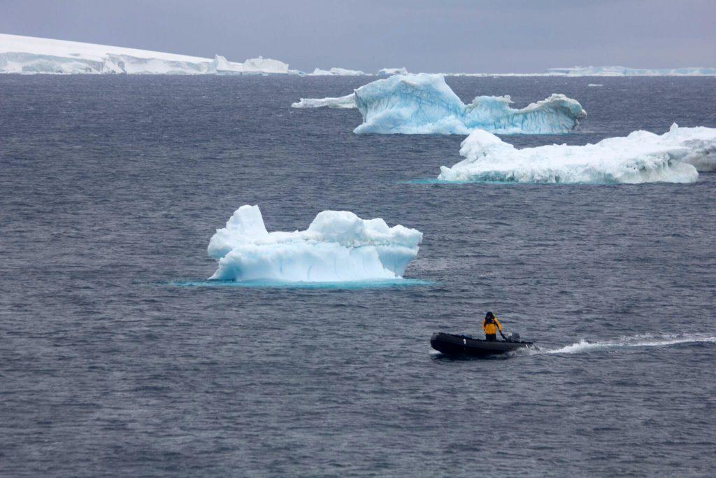 Zodiac racing out towards the polar cruise