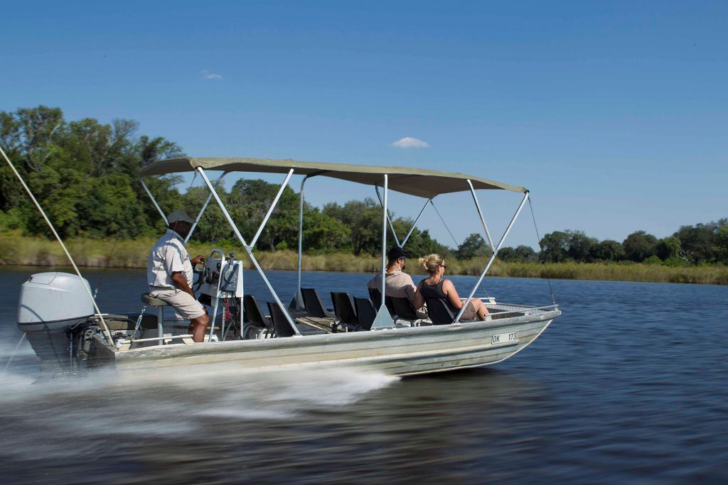 Cruising the delta in search of wildlife on safari in Botswana