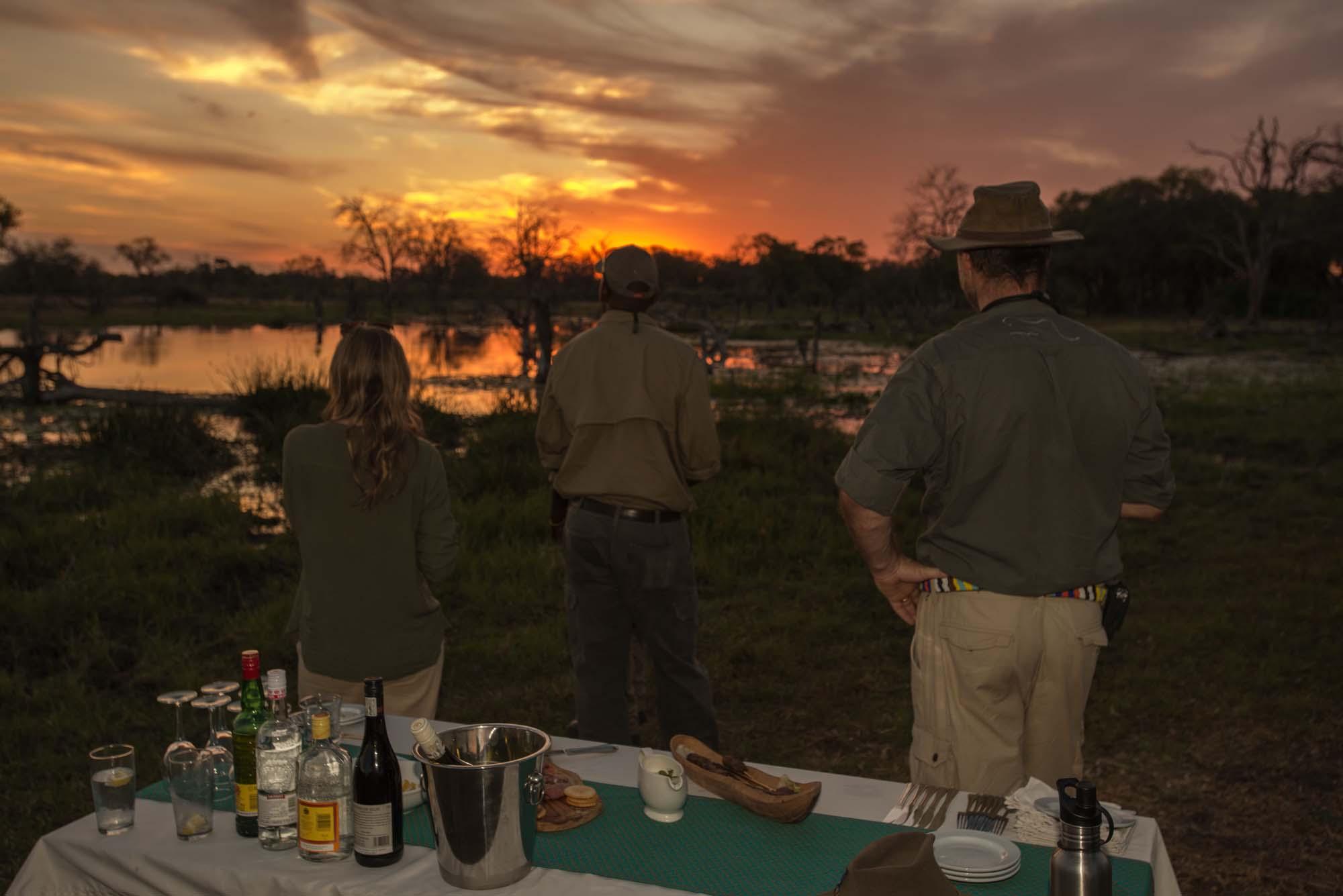 drinks at sundown on a luxury african safari