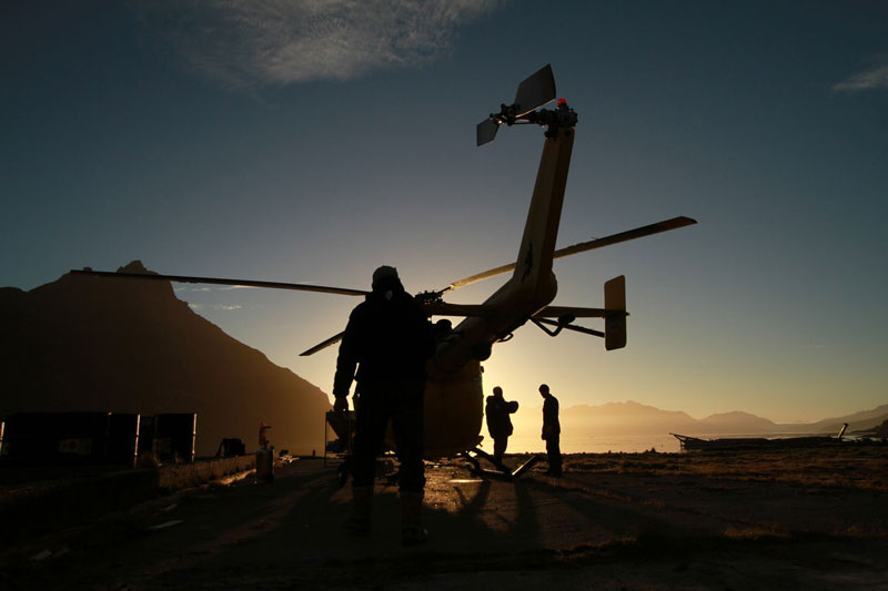 Helicopters, the main weapon in the war against rats on South Georgia Island