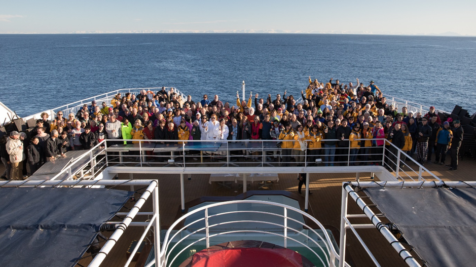 Passengers on an antarctic cruise vessel