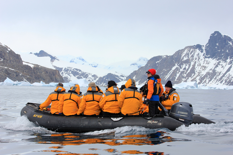 Zodiac trips on an antarctic cruise vessel
