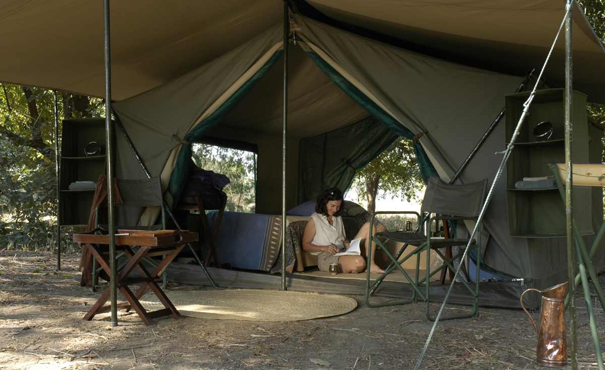 tent for an African walking safari