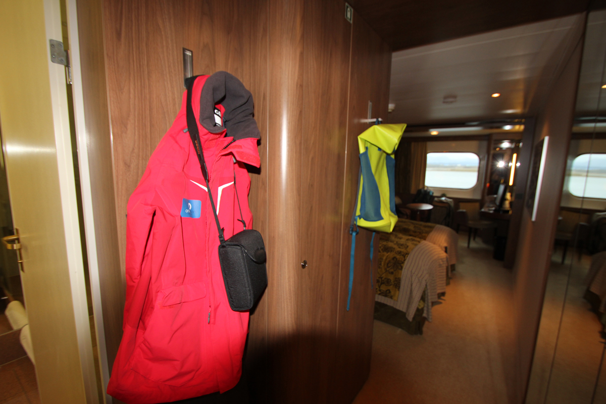 Polar Parker on an expedition cruise ship in Antarctica