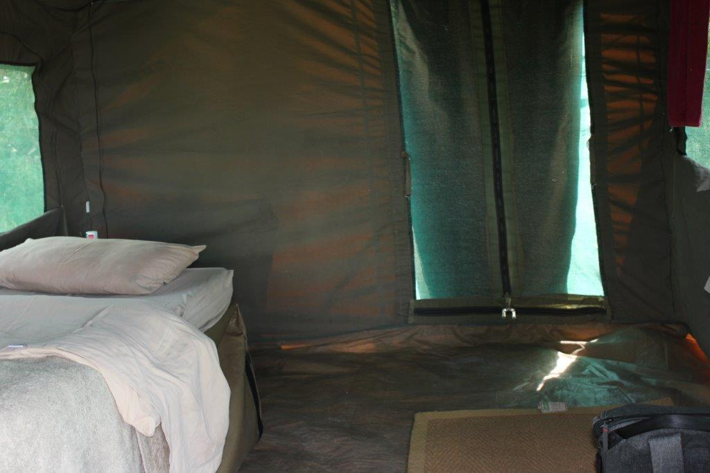 camping in a tent on a Botswana Safari
