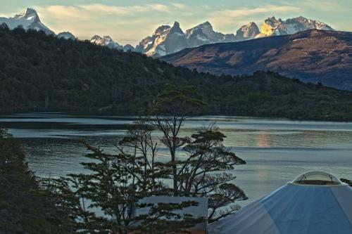 sunset and dome Camp Patagonia