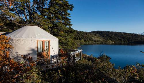yurt in the morning at Camp Patagonia